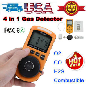 4 In 1 Gas Detector Co O2 H2s Oxygen Lel Gas Monitor Testing Analyzer Meter Tool