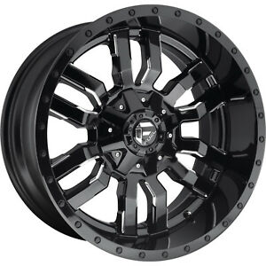 20x10 Black Milled Fuel Sledge 6x135 6x5 5 18 Wheels Open Country Mt 35 Tires
