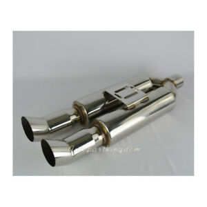 Inlet 2 5 Outlet 3 Universal Dual Tip Edge Exhaust Race Muffler Silencer 26