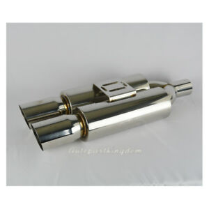 Inlet 2 5 Outlet 3 5 Universal Dual Tip Edge Exhaust Race Muffler Silencer 25