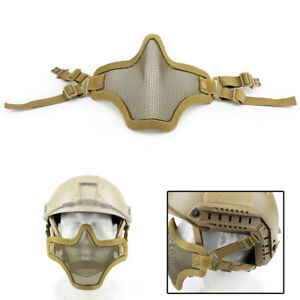 Hunting Military Tactical Steel Mesh Half Face Mask for Fast Helmet Rails Tan