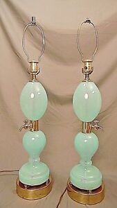 Pair Murano Hollywood Regency Period Opaline Royale Green Absynthe Lamps 36