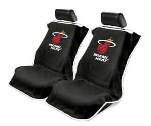 Seat Armour Universal Black Towel Front Seat Covers For Nba Miami Heat pair