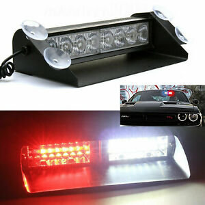 8 Led Red White Safety Warning Led Truck Suv Jeep Windshield Strobe Light Lamp