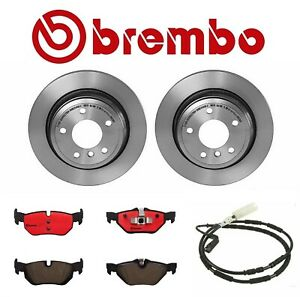 Pair Set Of 2 Rear Vented Brembo Brake Disc Rotors With Pads For Bmw E90 E91 E92