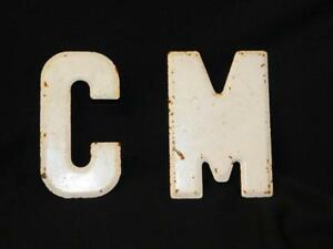 Antique Vintage Metal Letters C M White Marquee Wall Industrial 5 5 Tall