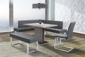 Armen Living Amanda Nook Corner Dining Bench In Gray Faux Leather Chrome
