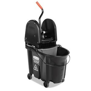 Rubbermaid Commercial Executive Wavebrake Down press Black Mop Bucket