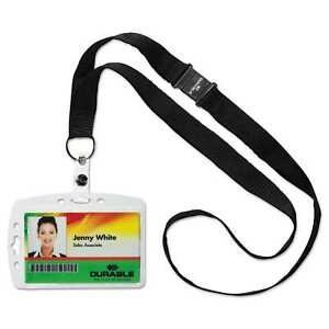 Durable Shell style Id Card Holder Vertical horizontal With Necklace Clear