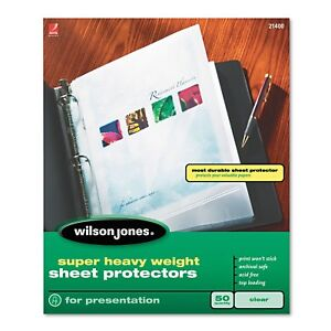 Wilson Jones Top loading Super Heavy Sheet Protectors Nonglare Finish Letter