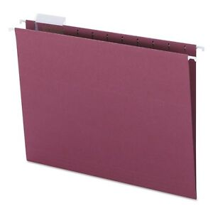 Smead Hanging File Folders 1 5 Tab 11 Point Stock Letter Maroon 25 box