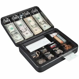 Hercules Cb1209 Key Locking Cash Box With 9 Compartment Tray Recycled Steel
