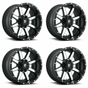 Set 4 20 Fuel Maverick D537 Black Machined Rims 20x10 8 Lug 8x170 18mm Lifted