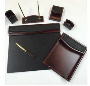 7 Piece Burgundy Oak Black Crocodile Eco Friendly Leather Desk Set Organizer