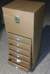 Vintage Metal Industrial 6 Drawer Filing Storage Box cabinet Locks