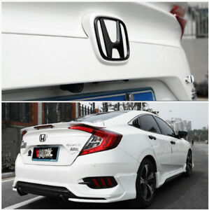 2016 2018 Black Front Rear Back Logo Emblem Badge Cover For Honda 10th Gen Civic