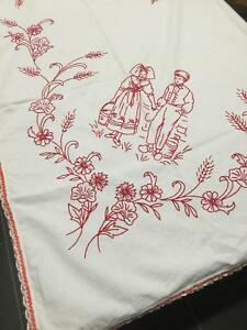 Redwork Hand Embroidered Flying Geese Alsace Region France Tablecloth Tc5