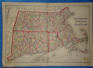 Vintage 1875 Massachusetts Connecticut Rhode Island Map Old Antique Original