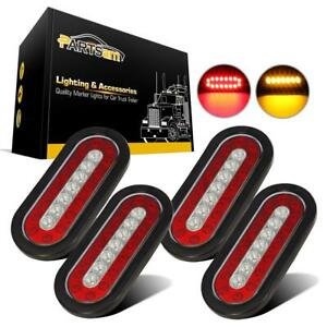 4pcs 6 Red amber 23 Led Truck Trailer Brake Stop Turn Signal Tail Reflex Lights
