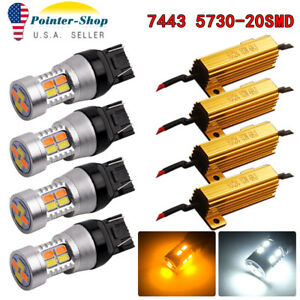 4x 7443 7440 White Amber Dual Color Switchback Led Turn Signal Lights Resistors