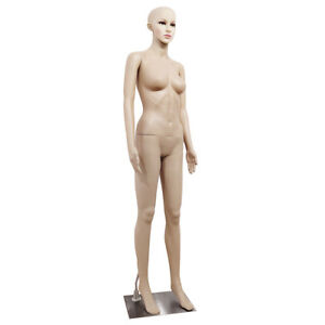 Female Mannequin Plastic Full Body Display Head Turn Dress Form W base F 2