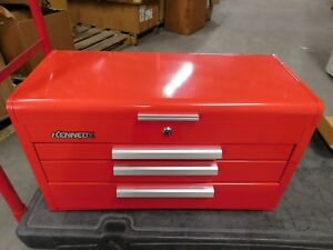 Kennedy 3 drawer Top Chest Tool Box Red Steel 26 X 12 X 14 263r Damaged