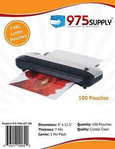 975 Supply 7 Mil Letter Thermal Laminating Pouches 9 X 11 5 100 Pouches