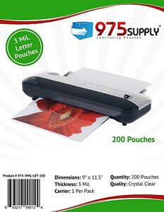 975 Supply 3 Mil Letter Thermal Laminating Pouches 9 X 11 5 200 Pouches