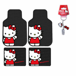 Sanrio Hello Kitty Core Car Truck Front Rear Rubber Floor Mats Keychain Set