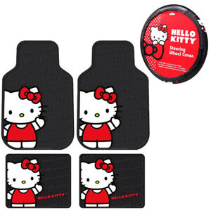 Sanrio Hello Kitty Core Car Truck Rubber Floor Mats Steering Wheel Cover Set