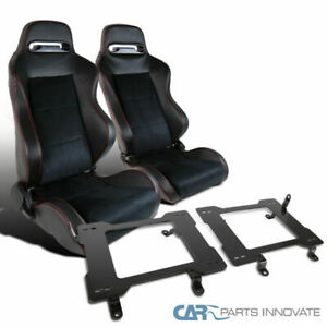 99 04 Ford Mustang Suede Leather Red Stitch Racing Seats base Bucket Brackets