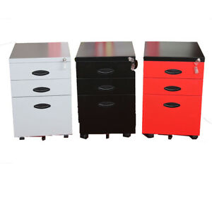 Metal 3 Drawer Mobile File Cabinet Storage Unit Beside End Table Furnitur Office