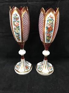 Antique Pair Of Bohemian Enameled Chalice Goblet Vase 15 Tall Nice Pair