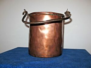 Large Antique Copper Pot Cauldron Hand Forged Iron Handle Lacquered 3