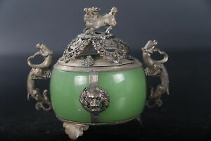Exquisite Chinese Tibetan Silver Carving Kylin Inlay Jade Incense Burner Statue