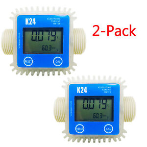 2 pack Blue Pro K24 Turbine Digital Diesel Fuel Flow Meter For Chemicals Water