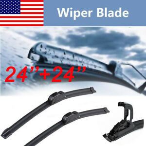 24 24 Windshield Wiper Blades J Hook Oem Quality Bracketless Premium Hybrid