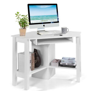 Wooden Corner Desk W Drawer Computer Pc Table Study Office Room White