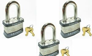 Lock Set By Master 1kalf lot Of 3 Keyed Alike Long Shackle Laminated Padlocks