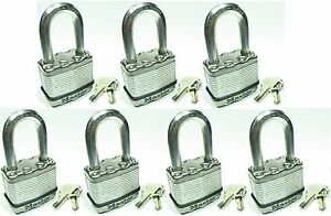 Lock Set By Master M5kalf lot Of 7 Keyed Alike Long Carbide Shackle Magnum