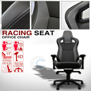 Universal Blk grey Stitches Pvc Leather Mu Racing Bucket Seat Office Chair C01