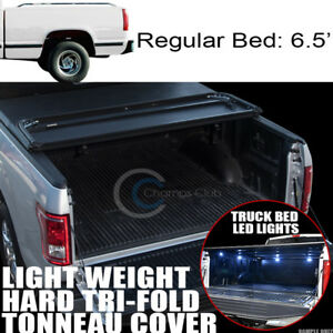 Tri fold Hard Tonneau Cover Lw 16x Led Lights 88 00 Chevy C k C10 Silverado 6 5