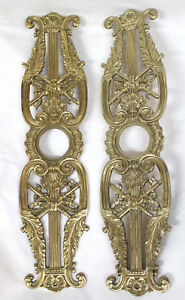 2x Vintage Gold Bronze Door Knob Plates Baroque