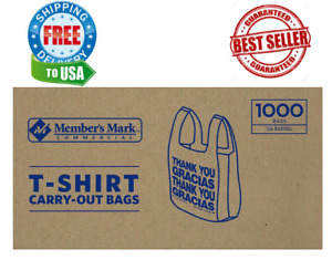 Member s Mark T shirt Carry out Bags 1 000 Ct brand New Original