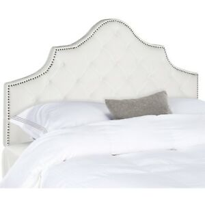 Queen Size Headboard White Upholstery Modern Contemporary