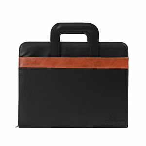 Deerlux Black Leather Business Portfolio With Handles Includes Large Notepad