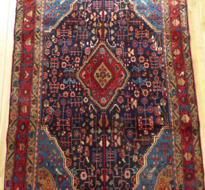 4 X6 Antique Authentic Persian Blue Nahavand Oriental Hand Made Wool Area Rug