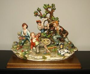 Signed Large Capodimonte Sculpture Apple Thieves Pickers On Attached Base
