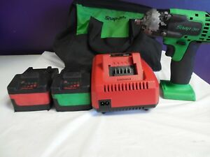 Snap On 18v Impact Wrench Ct8810ag 2 Monster Lith Batteries 1 Charger 1 Bag