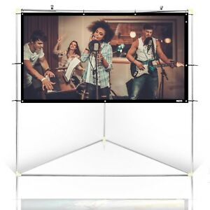 Pyle 84 Outdoor Portable White Theater Tv Projector Screen W Triangle Stand